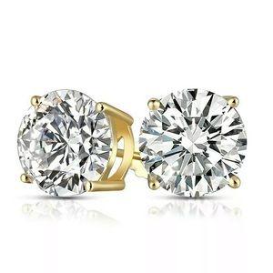 Jewelry - Unisex Silver Lab Diamond Round Cut Stud earrings